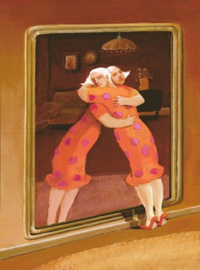 40505846 - a woman embraces her image in the mirror