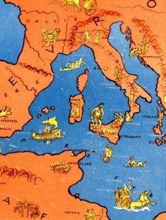 12655268 - ancient greek map