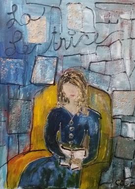 La Lectrice...... Techniques mixtes sur toile...... (1)
