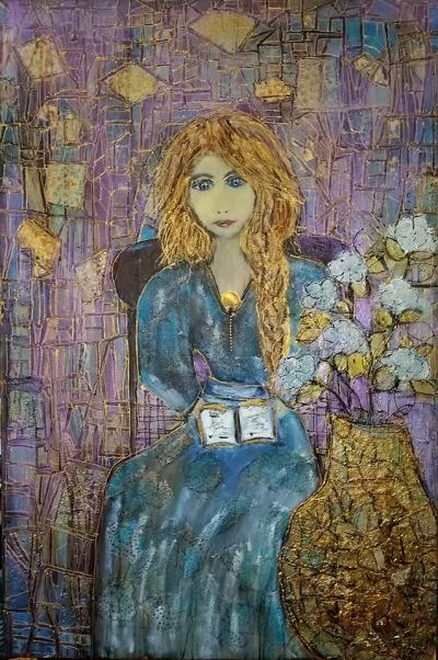 Madame lit..... Série Histoires de femmes.... Techniques mixtes sur toile.......